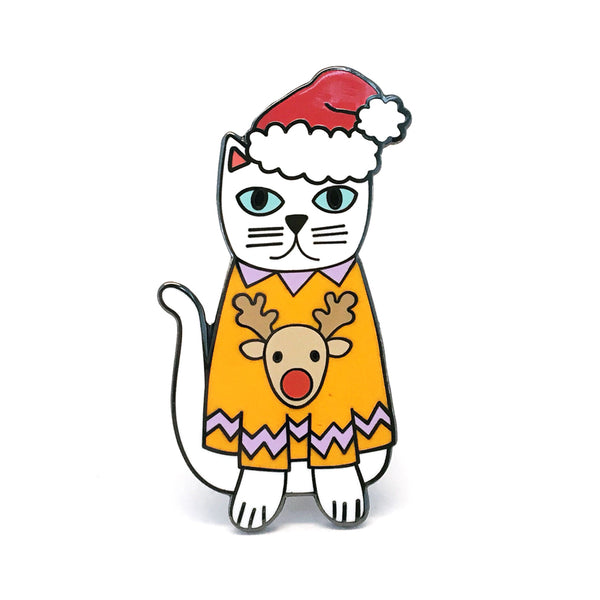 Christmas Cat Pin  · Orange Reindeer Jumper