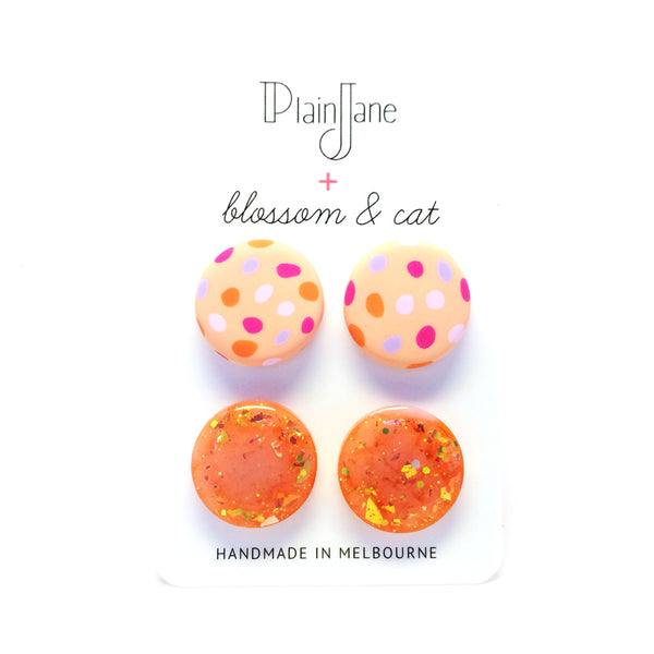 blossom & cat + Plain Jane · 'Sparkle & Spot' Stud Pack 5