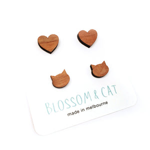 Stud Pack · Cherrywood · Heart & Cat