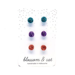 Stud Pack · Tiny Dots · Turquoise, Lilac, Rose Gold