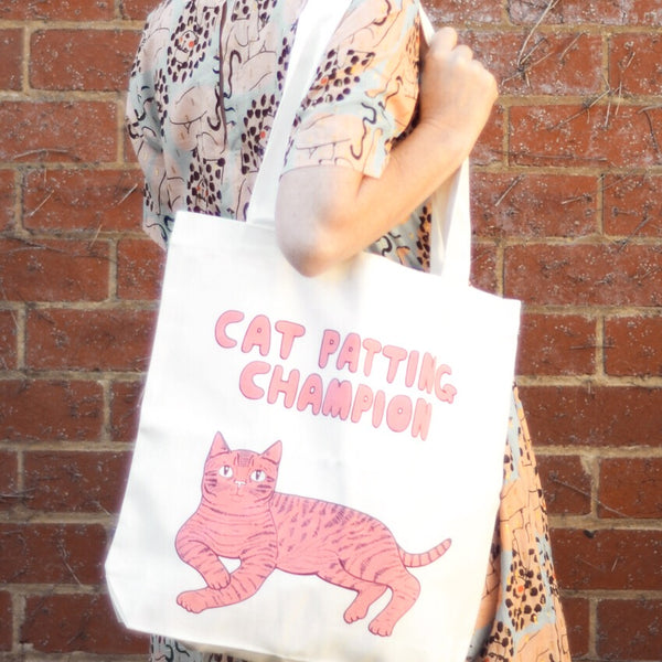 Tote Bag · Cat Patting Champion