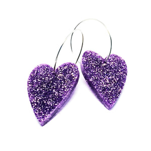 'i heart you' Hoop · Lilac Glitter