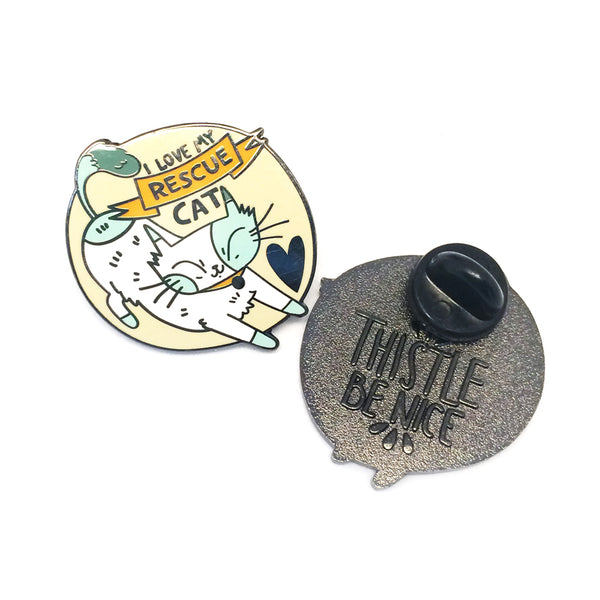 'I Love My Rescue Cat' Pin · Beige