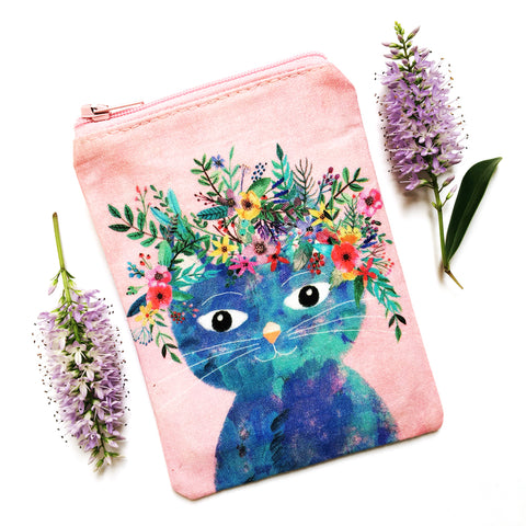 Coin Purse · Pink with Blue Cat