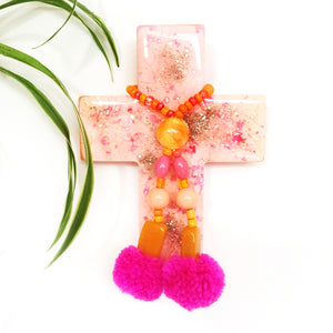Resin Decorative Cross · Pom Pom · Pink