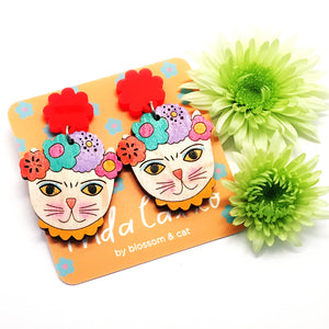 Frida Catlo Painted Flower Dangle · Orange