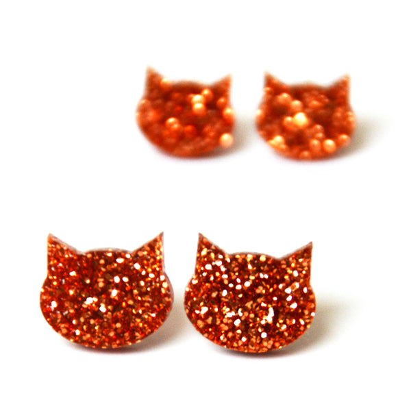 Cat Stud · Rose Gold Glitter