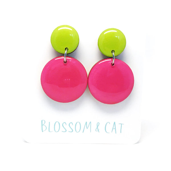 Pebble Dangles · Hot Pink + Lime