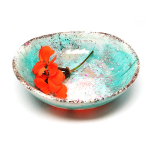 Resin Bowl · Large Organic · Light Aqua & Apricot