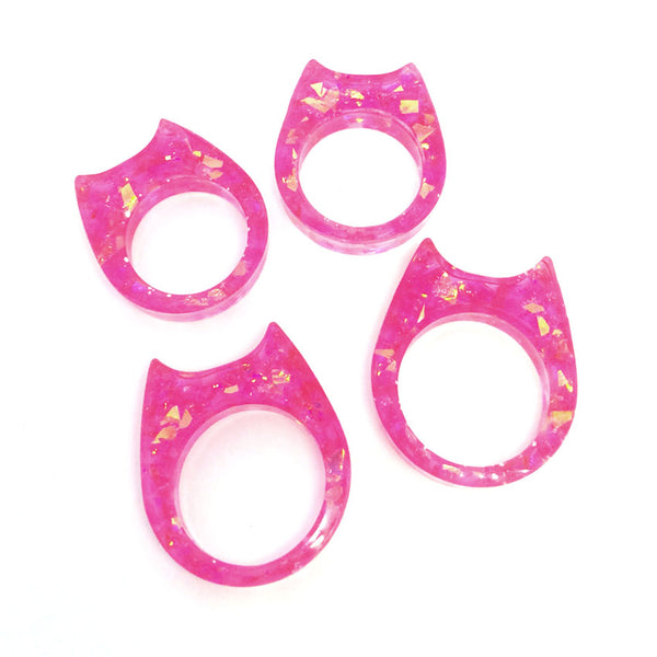 Glitter & Resin Cat Ring · Pink Sparkle