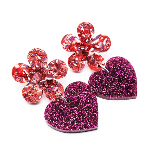 Flower Heart Dangles · Pink + Magenta
