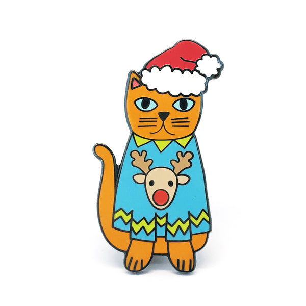 Christmas Cat Pin  · Blue Reindeer Jumper