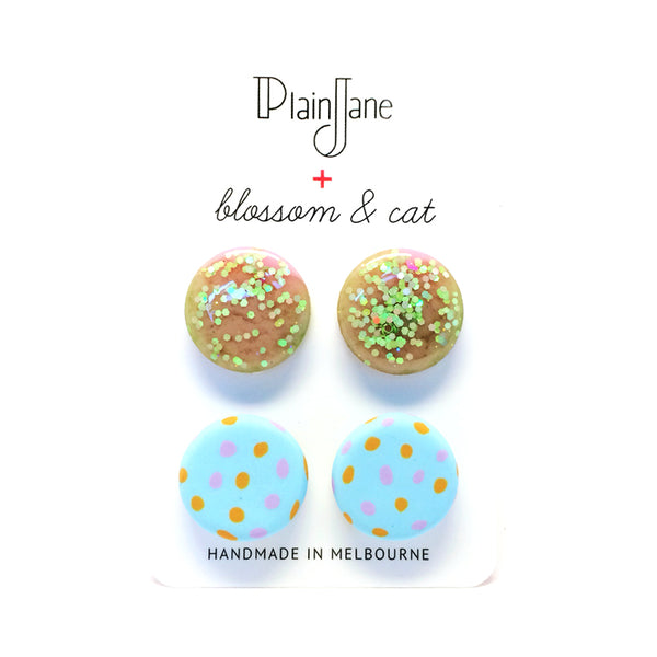 blossom & cat + Plain Jane · 'Sparkle & Spot' Stud Pack 6