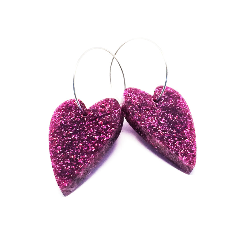 'i heart you' Hoop · Magenta Glitter