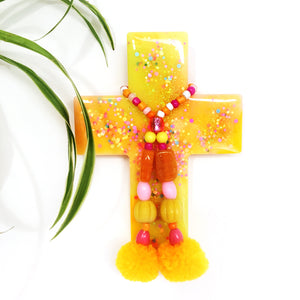 Resin Decorative Cross · Pom Pom · Yellow