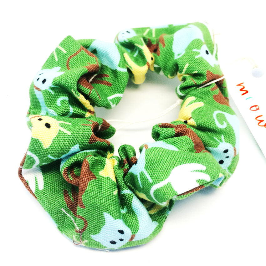 Scrunchie · Green Retro Kitties