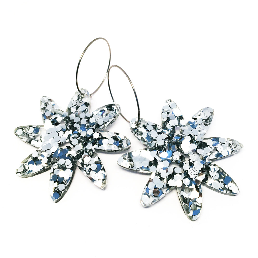 Large Flower Glitter Hoops · Silver