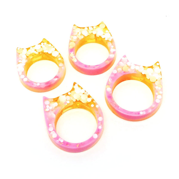 Glitter & Resin Cat Ring · Pinky Sundae