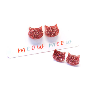 Cat Stud · Light Pink Glitter