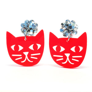 Cat Face · Neon Red + Silver