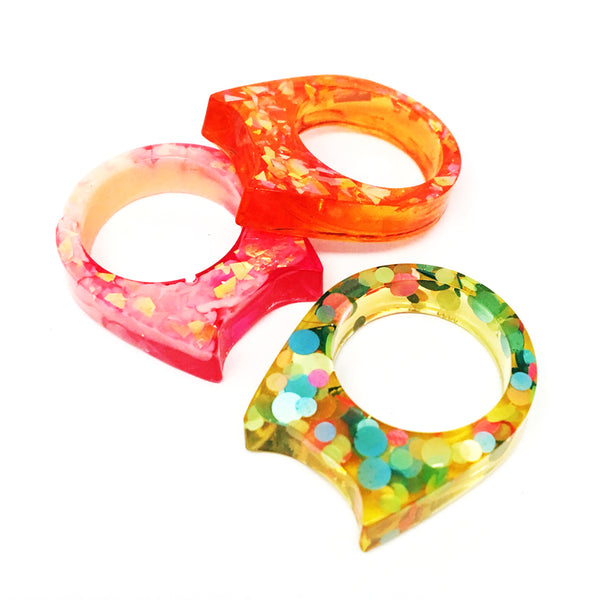 Ring Bundle · Glitter & Resin Cat Ring · Size 2 · Pack 6