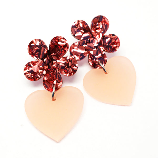 Flower Heart Dangles · Pink + Pink Frosted