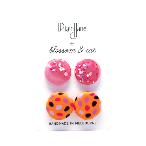 blossom & cat + Plain Jane · 'Sparkle & Spot' Stud Pack 1