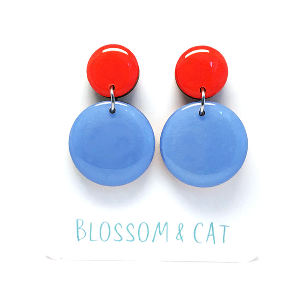 Pebble Dangles · Sky Blue + Red