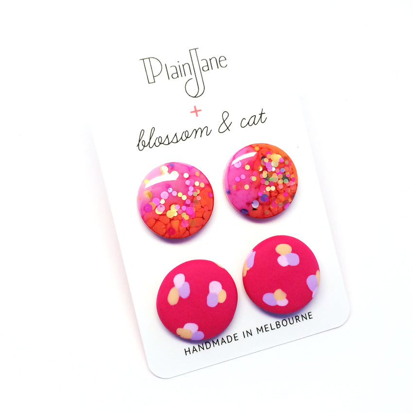 blossom & cat + Plain Jane · 'Sparkle & Spot' Stud Pack 7