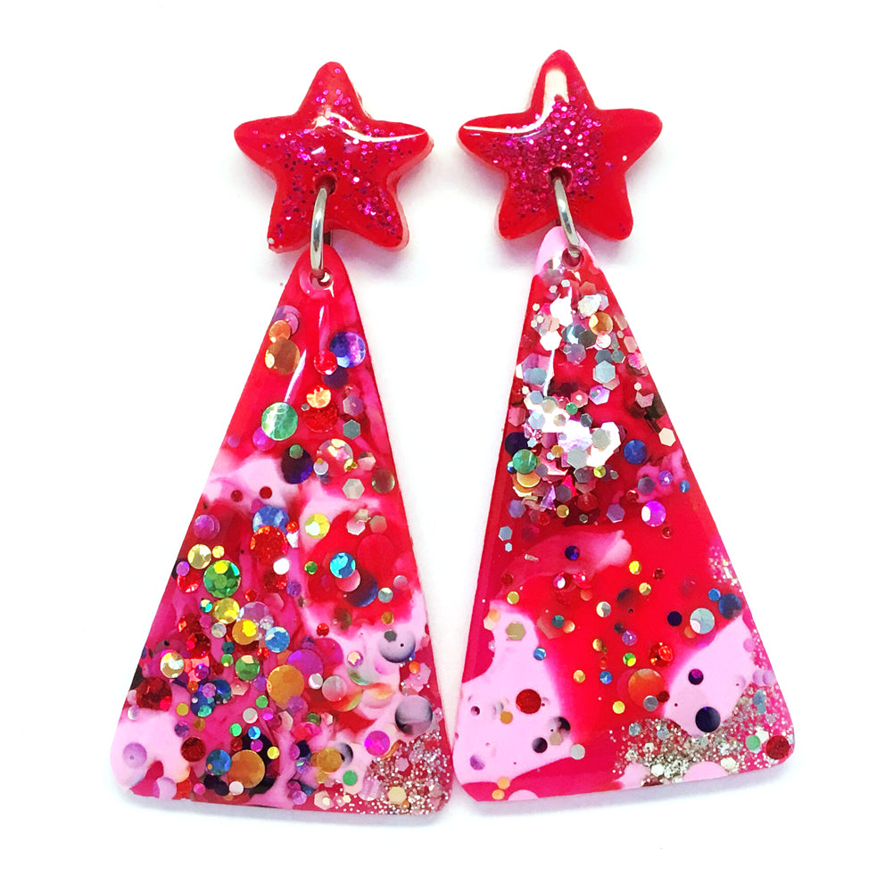Christmas Tree Earring · Hot Pink