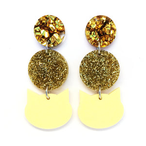 Pom Pom Cat Earring · Sunshine Yellow