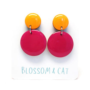 Moon Dot Dangle · Cerise + Marigold
