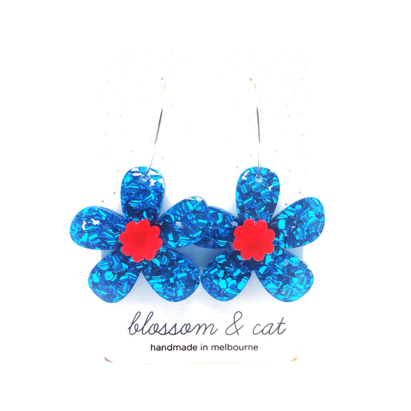 Daisy Hoops · Light Blue