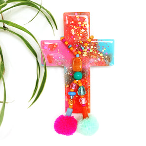 Resin Decorative Cross · Pom Pom · Pinky Orange