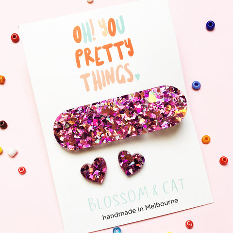 Glitter Hair Clip & Heart Stud Pack · Ivy · Glitzy Pink