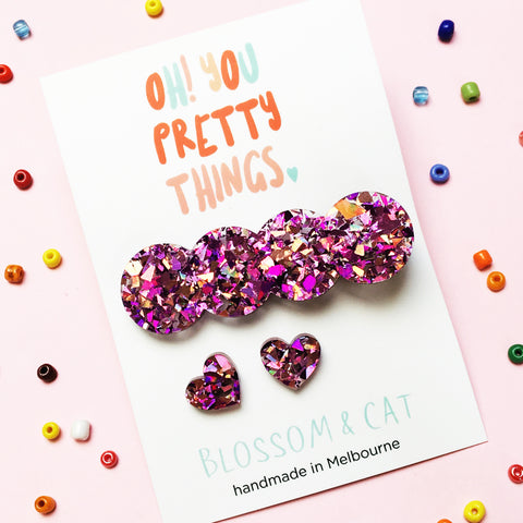 Glitter Hair Clip & Heart Stud Pack · Lucy · Glitzy Pink