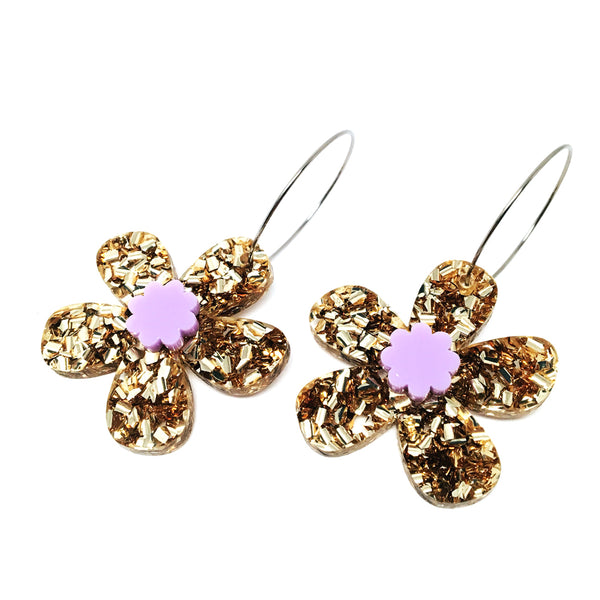 Daisy Hoops · Light Gold + Lilac