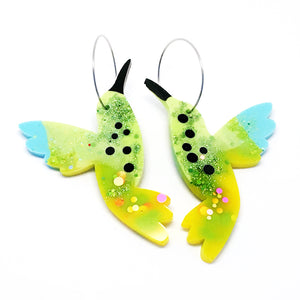 Hummingbird Hoops · Green Blue Yellow