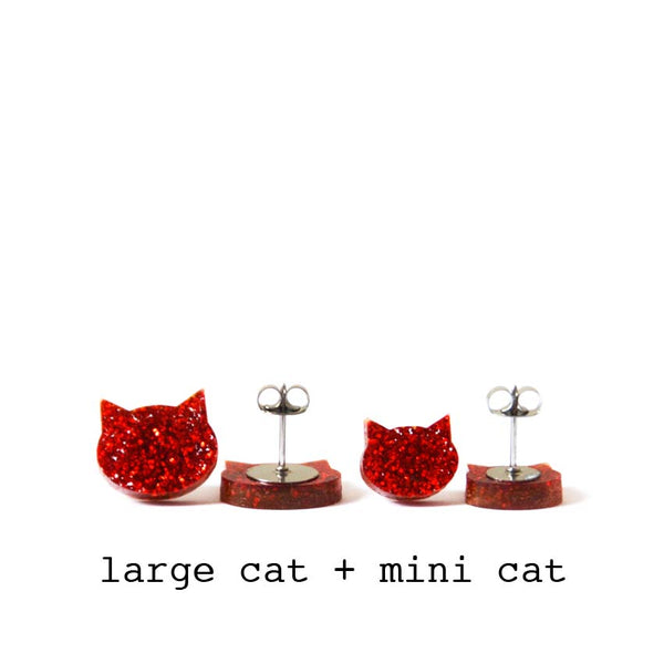 Cat Stud · Ruby Red Glitter
