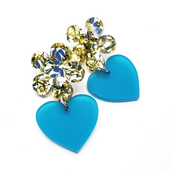 Flower Heart Dangles · Stardust + Frosted Teal