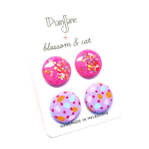 blossom & cat + Plain Jane · 'Sparkle & Spot' Stud Pack 8