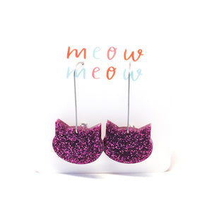 Cat on a Wire · Magenta Pink Glitter
