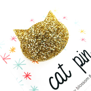 Cat Pin · Gold Glitter