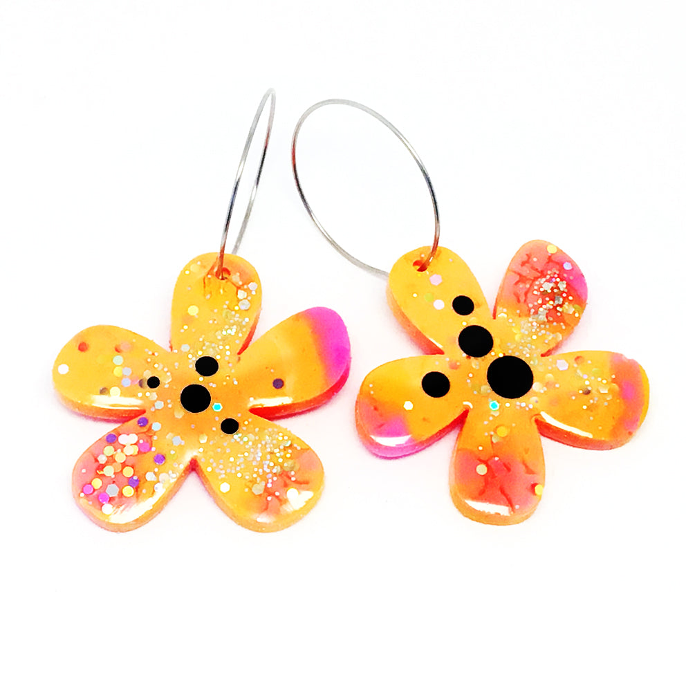 Resin · Flower Hoops · Orange