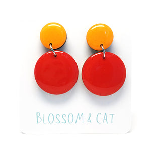 Moon Dot Dangle · Red + Marigold