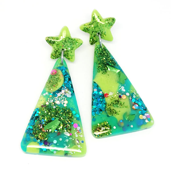Christmas Tree Earring · Emerald + Lime