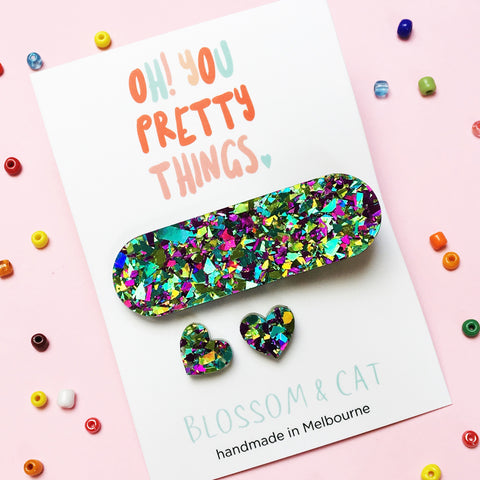 Glitter Hair Clip & Heart Stud Pack · Ivy · Glitzy Peacock