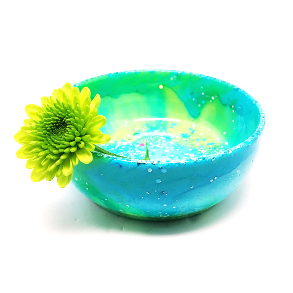 Resin Trinket Bowl · Large · Lime Turquoise