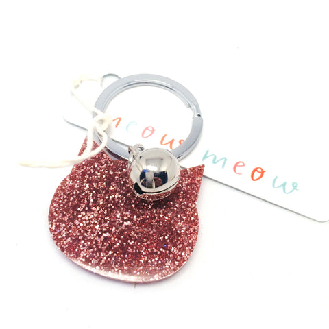 Glitter Cat Keyring · Light Pink