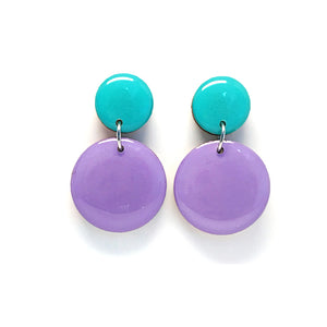 Pebble Dangles · Lilac + Aqua